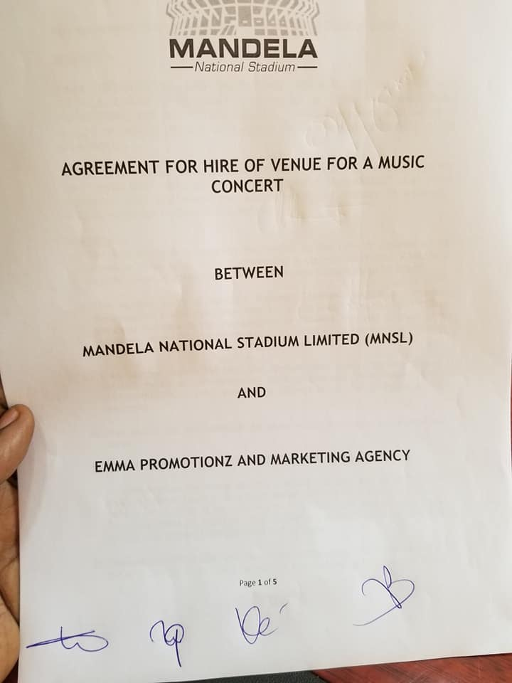 Agreement of hire of Namboole stadium for Bobi Wine Kyarenga concert