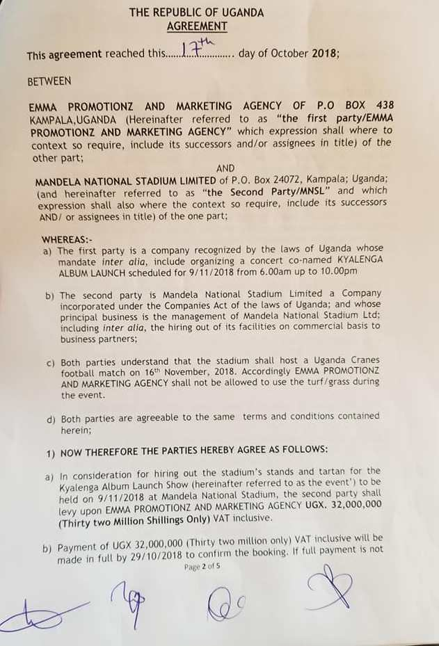 Agreement of hire of Namboole stadium for Bobi Wine Kyarenga concert2