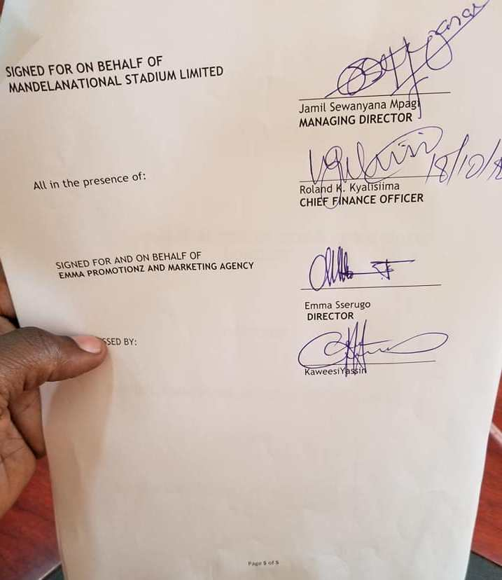 Agreement of hire of Namboole stadium for Bobi Wine Kyarenga concert3
