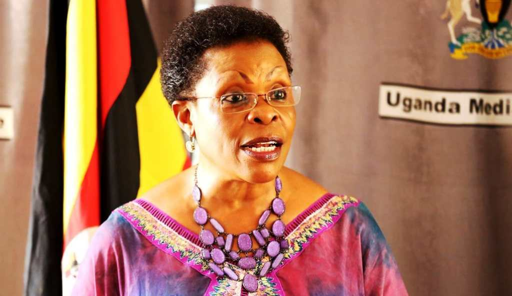 Beti Kamya addresses reporters at the Uganda Media Centre in Kampala. Courtesy Photo