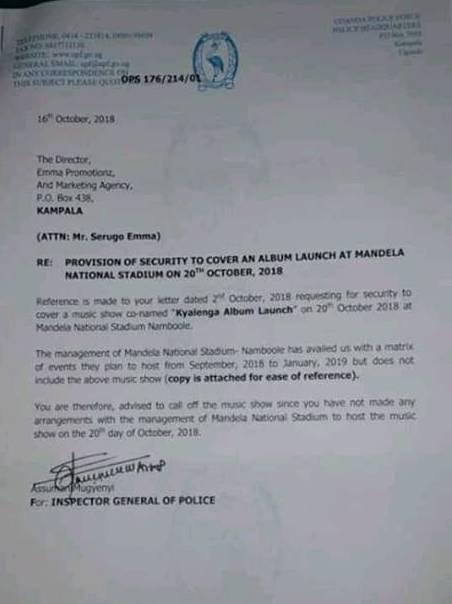 IGP Ochola letter to Bobi Wine's Kyarenga concert manager Emma Serugo