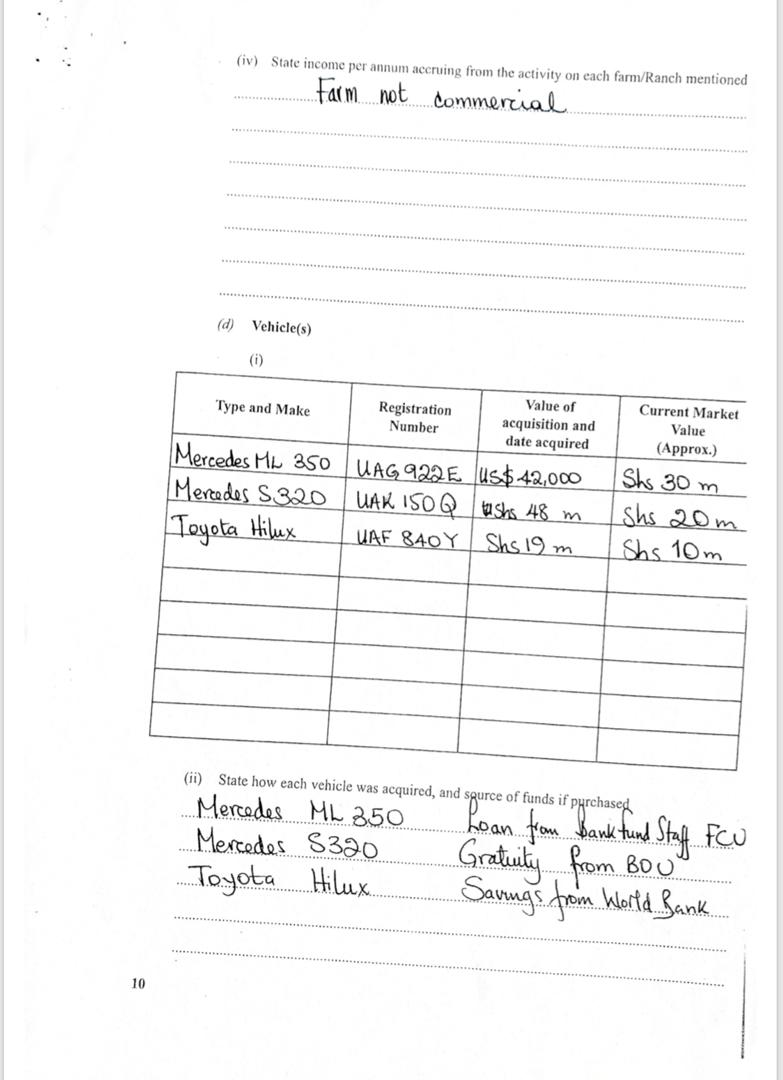 Wealth Declaration Form Showing Louis Kasekende's Wealth 2