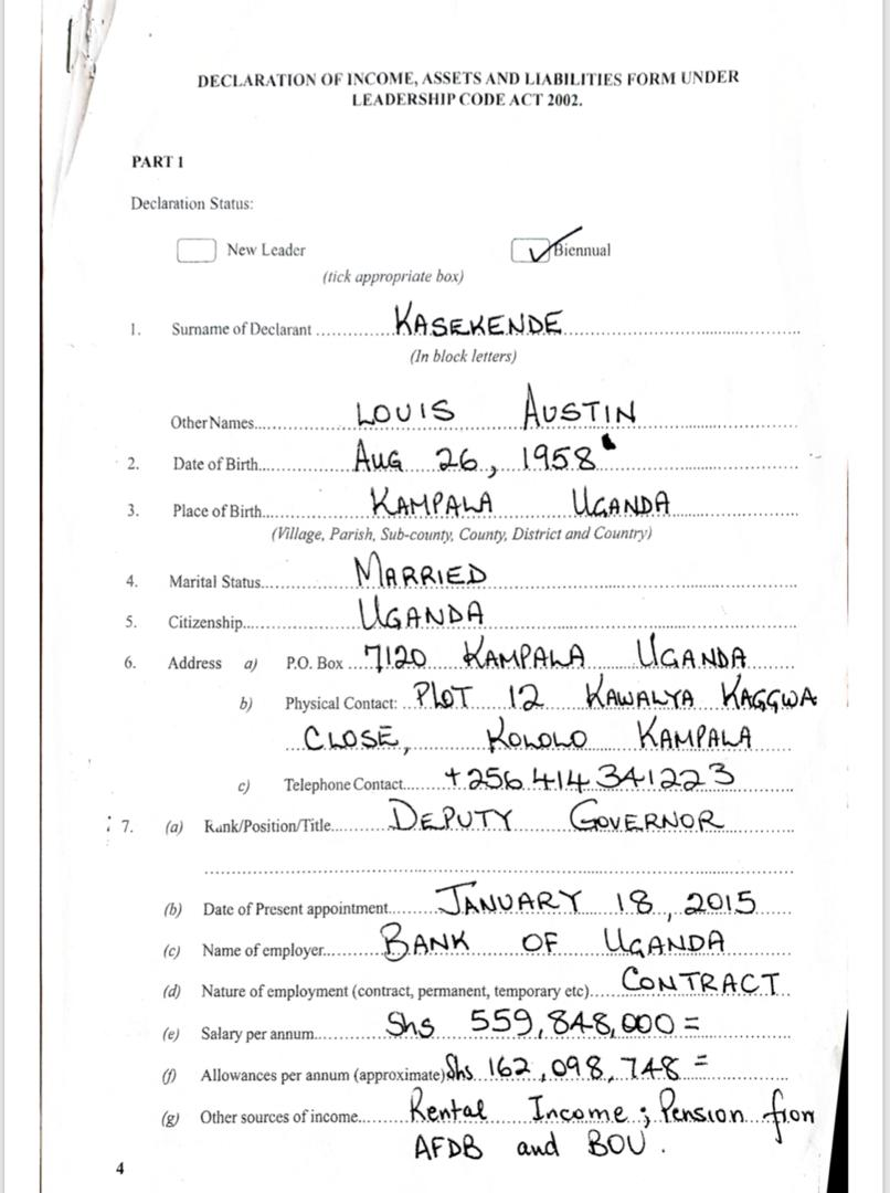Louis Kasekende's wealth declaration form1