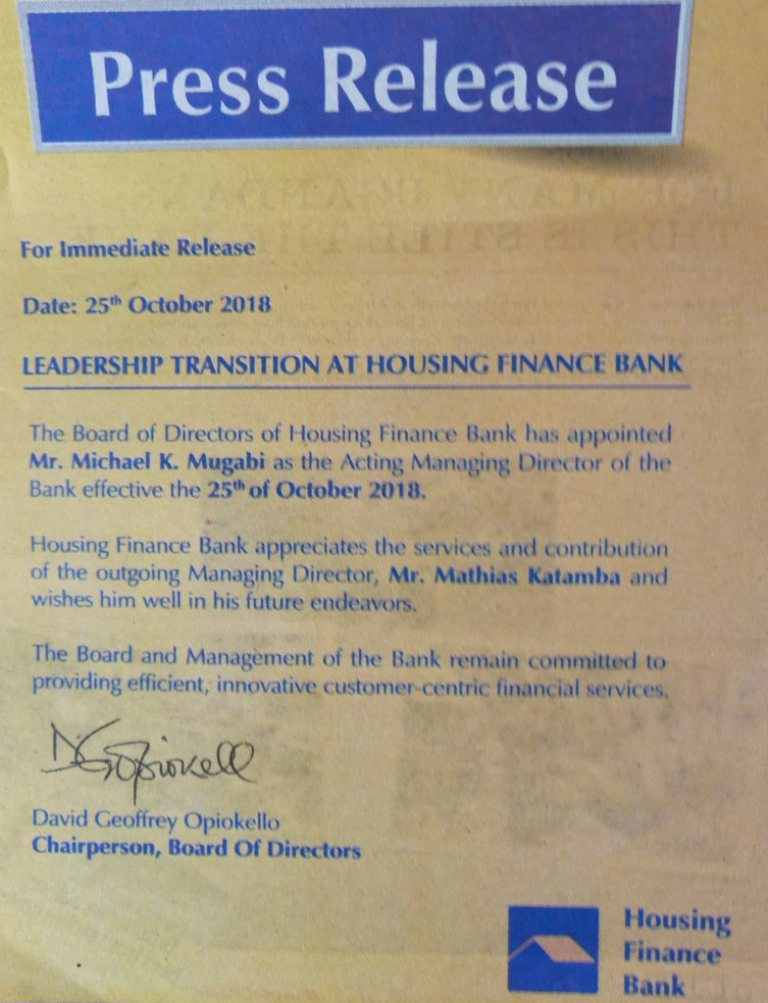 Mathias Katamba resigns as Housing Finance Bank Managing Director, replaced with Michael Mugabi