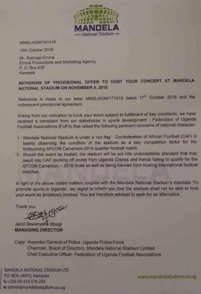 Namboole stadium management tell Bobi Wine to find alternative venue for Kyarenga concert