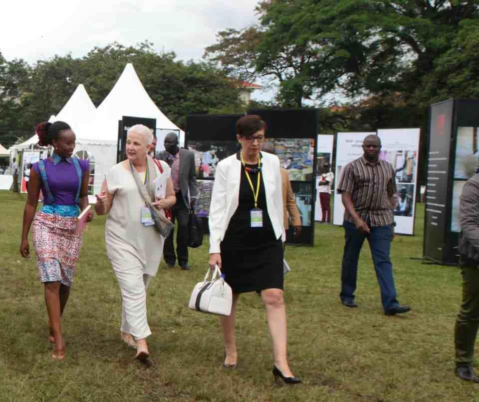 Barbie Kyagulanyi with ambassadors Malac and Rivoal at Makerere University