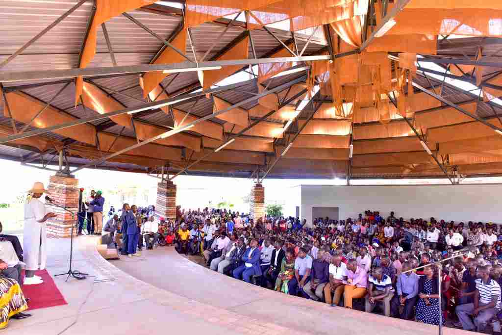 First lady Janet Museveni speaks at St Benard's Mannya secondary school in Rakai district
