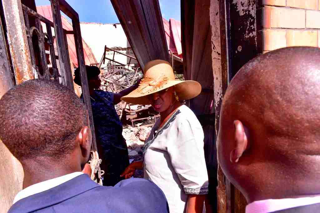 Janet Museveni assesses the impact of fire at St Benard's Mannya secondary school in Rakai districtJanet Museveni assesses the impact of fire at St Benard's Mannya secondary school in Rakai district