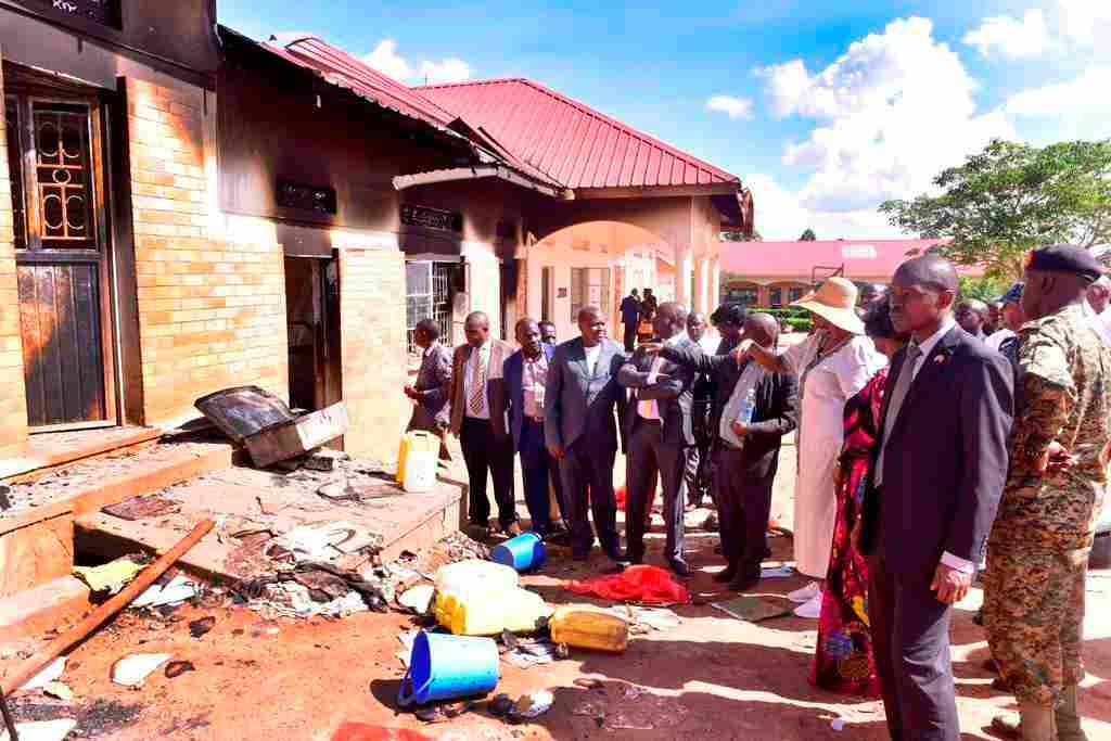 Janet Museveni at St Benard's Mannya secondary school in Rakai district
