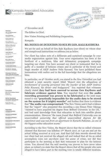 Kayihura's letter of intention to sue New Vision and other Vision Group media