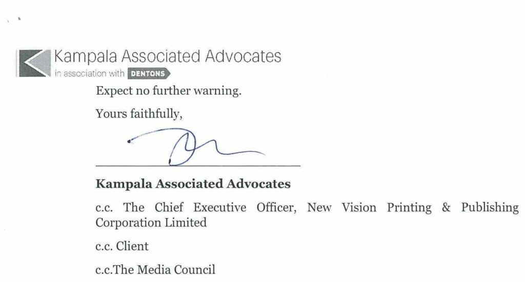 Kayihura's letter of intention to sue New Vision and other Vision Group outlets