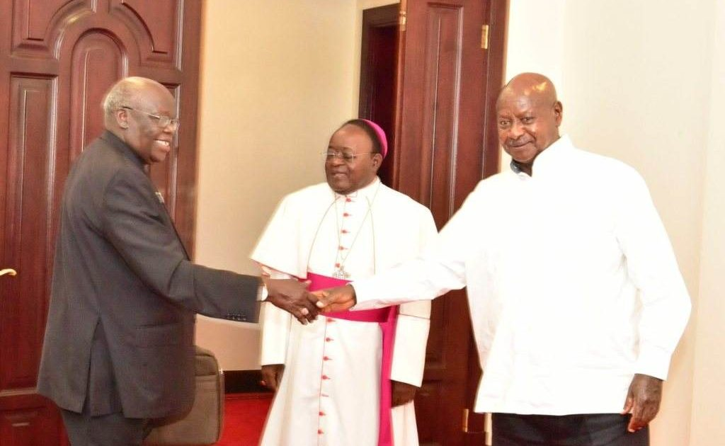 Museveni meets Archbishops Lwanga and Odama at State House Entebbe. Courtesy Photo