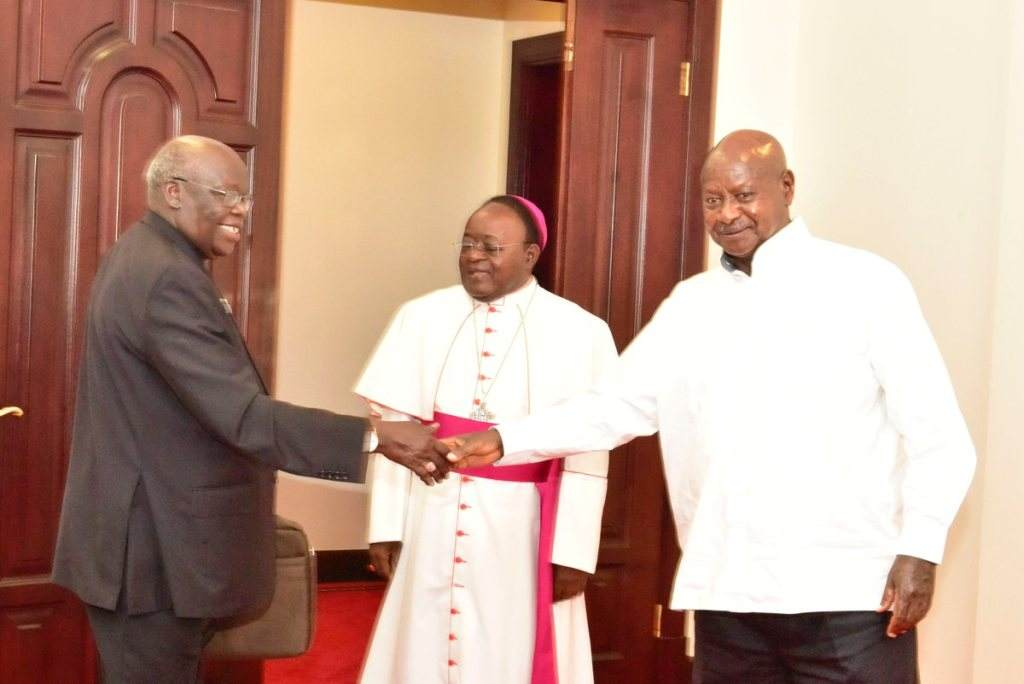 Museveni meets Archbishops Lwanga and Odama at State House Entebbe. Courtesy Photo