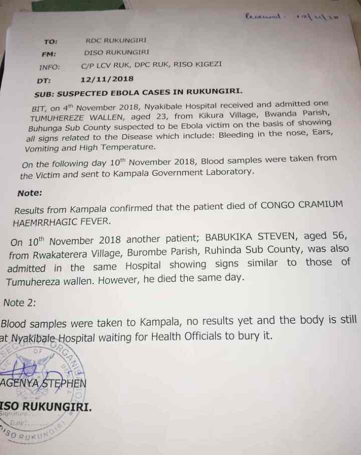 Suspected Ebola cases registered in Rukungiri