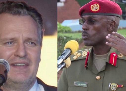 MTN CEO Wim Vanhelleputte and SFC commander Maj Gen Don Nabaasa