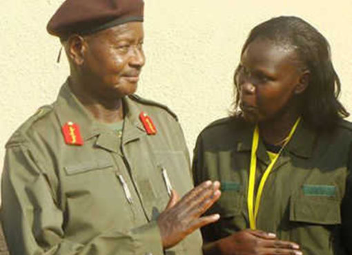 President Museveni and minister Anite. Courtesy Photo