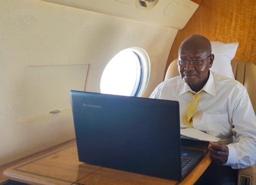 President Museveni answers Bazzukulu's children on his way to Japan. PPU Photo