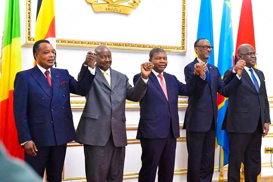 Regional leaders in Luanda at the signing of MoU between Rwanda and Uganda. Courtesy Photo