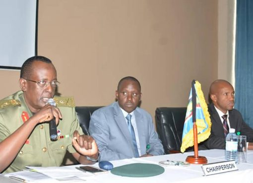 National Enterprise Corporation (Nec) managing director Lt Gen James Mugira speaking at the opening of a meeting of regional intelligence chiefs in Entebbe. Courtesy Photo